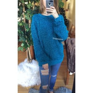 🌿 Vintage 70's Cozy Blue Marled Knit Sweater 🌿